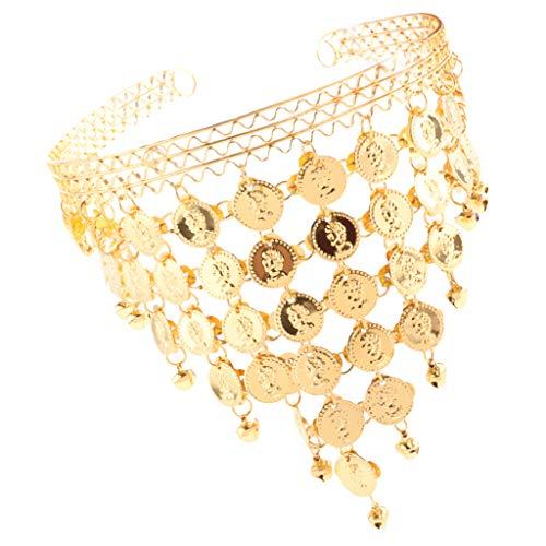 non-brand Baoblaze Damen Bauchtanz Kostüm Münze Haarband Stirnband Tiara Zigeunerin Kopfschmuck - Gold