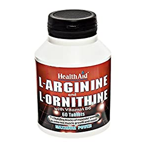 517CPZvuQwL. SS300  - HealthAid L-Arginine with L-Ornithine 300mg - 60 Tablets