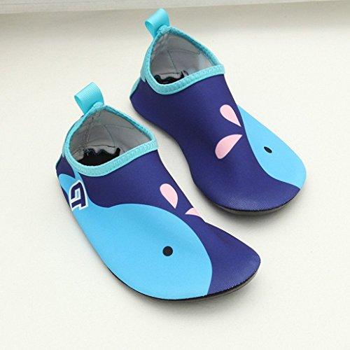 Eagsouni® Badeschuhe/ Wasserschuhe/ Aquaschuhe/ Schwimmschuhe Weiche Rutschfest Schuhe für Damen Herren Kinder Baby #9Dunkelblau