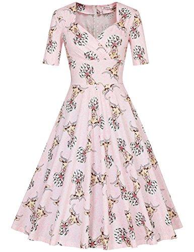 MUXXN Damen 1950er Business oder Cocktailparty Kleid Deer Floral