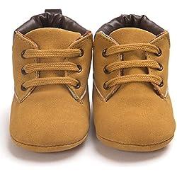 Primeros Pasos para Bebé niño, Recién Nacido bebé niño niña Zapatos Lindos Zapatos de Lona Antideslizante Suave 0-18 Mes (Tamaño:6-12Mes, Caqui)
