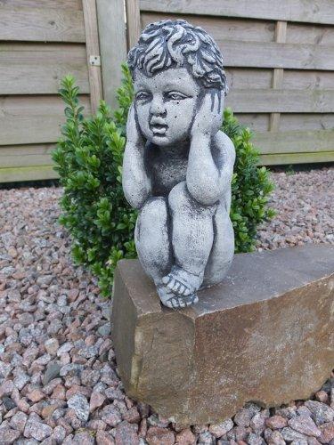 Steinfigur Engel Kinderfigur Die drei Weisen – nichts Hören – Steinguss Gartenfigur