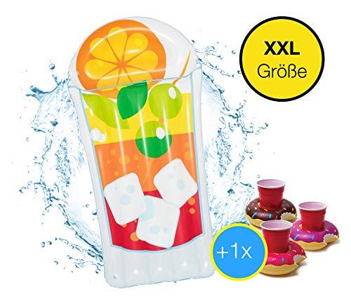 XXL Aufblasbar Drink Mojito Cocktail - coole, trendige Luftmatratze Schwimmbrett Schwimminsel für Pool, Wasser für Kinder und Erwachsene inkl. 1x Getränkehalter Cocktailhalter (Mojito)