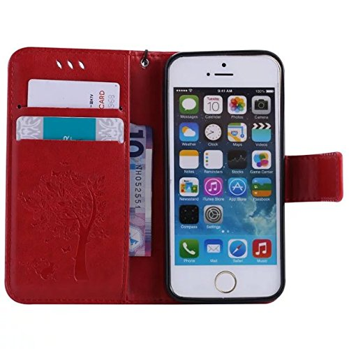 iPhone Case Cover Housse en Cuir PU en cuir véritable avec motif en relief pour iPhone 5 5S SE ( Color : Pink , Size : IPhone 5S SE ) Red
