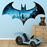 Wall Smart Designs Batman Dark Knight Logo Super-héros DC BD Complet Couleur Art Mural Autocollant Sticker Mural pour Enfants Chambre à Coucher Transfer Graphique