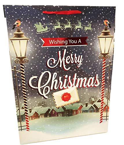 Weihnachtsgeschenktüte, groß, extra groß, Weihnachtsgeschenk, Geschenkverpackung, traditionelle Szenenfolie