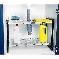 2estantes de almacenamiento organizador ajustable para fregadero de cocina estante armario Rack