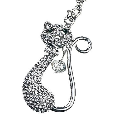 Hermoso llavero con cristales (imitación) para mujeres, elegante adorno de bolso, inspirado en la colección Swarovski