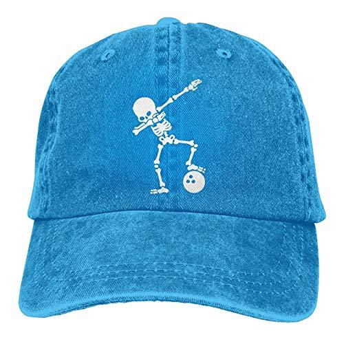 Trucker Baseball Dab Skeleton Dabbing Bowling Ball 1 Men Or Women Denim Jeans Adjustable Baseball Cap Blue -