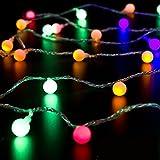 Denknova® LED Lichterkette / 10 M mit 100 Dioden (LEDs) / kugelähnlich, Bällchen (darin LED) / Am Ende der Lichterkette mit Verbindungsstück bzw. Anschlussstück / strombetrieben inkl. Sicherheitstransformator / Stimmungsbeleuchtung, Lichter für Feste, Weihnachten, Partys und Hochzeit / innere oder äußere Dekoration (2 Bunt)