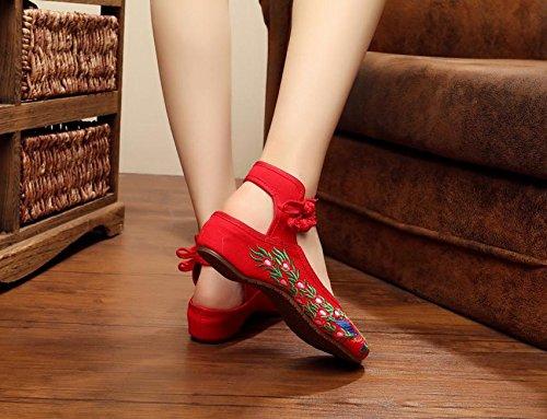 WXT Gestickte Schuhe, Sehnensohle, ethnischer Stil, Femaleshoes, Mode, bequem, Tanzschuhe Red