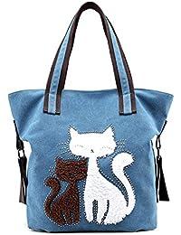 560589fa9 La Bolsa de Asas de Las Mujeres Cute Cat Design Canvas Zipper Bolsos de  Hombro