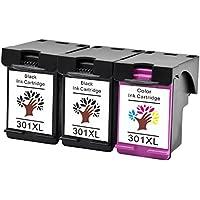 GREENSKY 3 paquetes cartucho de tinta compartible de reemplazo para HP 301 301XL para HP CH561EE CH562EE CH563EE CH564EE HP Deskjet 1000 1010 1050 2000 2050 2050a 3000 3050 3050A HP Officejet 2620 2622 2624 4630 4632 HP Envy 4500 4502 4504 4505 Impresora - (2 Negro & 1 Tri-Color)
