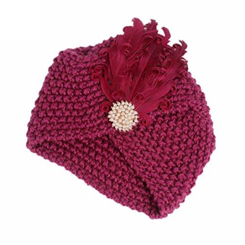 Xshuai Kinder Baby Mädchen Stricken Hut Beanie Turban Kopf Wrap Winter Warme Kappe Pile Cap für 1-6 Jahre (One size, Rosenrot) (Kinder Baseball-buch)