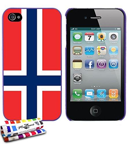 Ultraflache weiche Schutzhülle APPLE IPHONE 4 / IPHONE 4S [Flagge Norwegen] [Bonbonrosa] von MUZZANO + STIFT und MICROFASERTUCH MUZZANO® GRATIS - Das ULTIMATIVE, ELEGANTE UND LANGLEBIGE Schutz-Case fü Lila