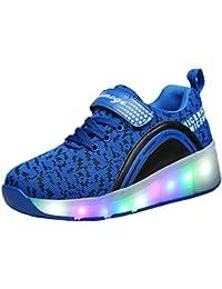 ECOTISH Niños niñas Zapatillas con Ruedas LED Sola Ronda Para Skate Zapatos Deportivas con Luces Niñas Zapatos con Ruedas Zapatos de rodillo