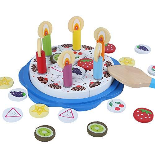 (B&Julian Holzspielzeug Rollenspielzeug Holz Geburtstagstorte Schneideset 32 teilig als Küche Kaufladen Zubehör Set für Kinder ab 1 Jahr)