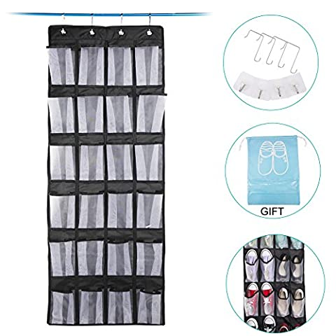 Hanging Shoe Storage,Meepo Black Oxford Over The Door Shoe Rack with 24 Mesh Pockets Storage for Closet,4 Hooks (Hanging Shoe Organizers) (Rangement des Chaussures)
