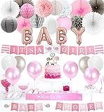 JOYMEMO Decoraciones de Baby Shower para niña Es una Pancarta de niña, Primeros de Pastel de Elefante, Globos de Papel de Aluminio para bebés, pañuelos de Papel Pompones Ventiladores y linternas