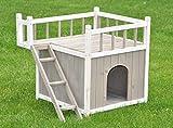 nanook maison pour chat 'Benny' - 2 niveaux - niche et terrasse au toit - 72 x 56 x 65 cm (LxHxP) couleur blanc gris