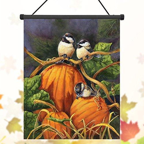 Bazaar 30x45cm Danksagungs Polyester Kürbis Vögel Willkommens Markierungsfahnen Garten Feiertags Dekoration