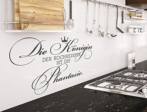 """I-love-Wandtattoo 12041 Wandtattoo Küchen Spruch \""""Die Königin der Kochrezepte ist die Phantasie\"""" mit Krone Schriftzug Kochen Sternekoch Rezepte Leidenschaft Wanddeko Wandbild Küchenwand Küchenfliesen Küchendeko Esszimmer Esstisch"""