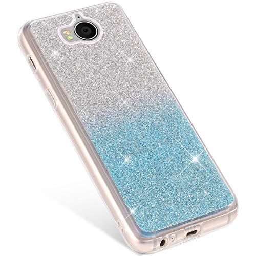 Coque Huawei Y5/Y6 2017,Etui Huawei Y5/Y6 2017 Coque en Silicone, Paillette Glitter Shine Briller de Luxe Matte Ultra Fine Anti Choc Souple Coque Housse de Protection Huawei Y5/Y6 2017,Dégradé Bleu