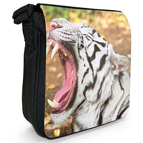 Weiße Tiger Kleine Schultertasche aus schwarzem Canvas Gebrüll eines weißen Tigers