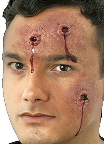 Damen Herren Halloween Blutige Zombie Spezialeffekte Latex Make-up Kostüm Kleid Outfit Kit - Pistolen Schüsse, One Size, (Schüsse Halloween)