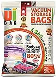 DIBAG ® 4er-Pack Platzsparende Vakuum-Kleiderbeutel 2x(100X80 cm) mit Ventil + 2x Reise Roll-Up Bag (57x45 cm) ohne Absaugung/ohne Ventil. Neue 2015-Modell