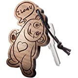 """Schlüsselanhänger aus Holz mit Gravur """"I love you!"""""""