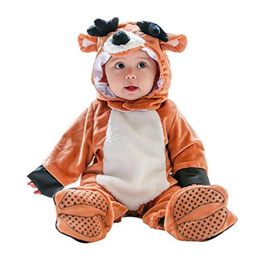 n Jungen Jumpsuit mit Kapuze Säugling Tier Rompers Halloween Cosplay Zipper Strampler Outfits Stil7 100 (Minion Outfit Für Baby)