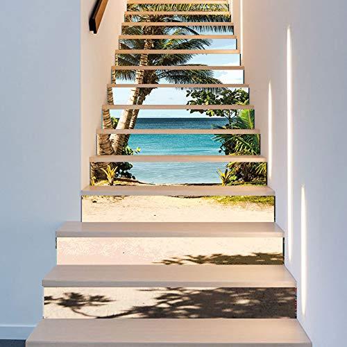 Wallpaper FANGQIAO SHOP Treppenhaus Aufkleber Kreative Simulation 3D Sea Coconut Tür Aufkleber Abnehmbare Mode Ideen Aufkleber Wandmalereien Kunst Decor Wandtuch