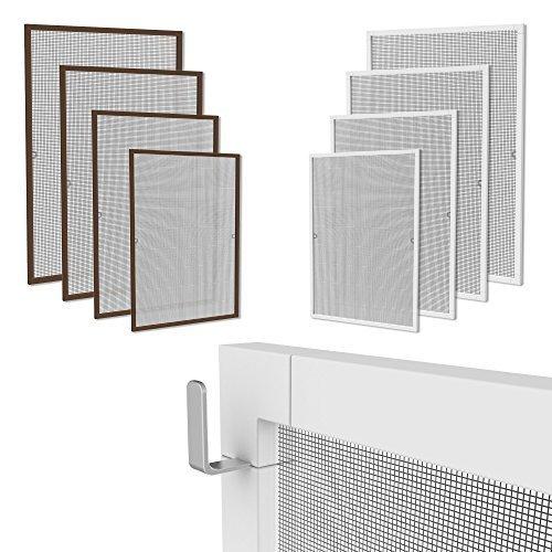 Klemmfix Fliegennetz Fenster Aluminium Rahmen Braun Größe 120cm*140cm Fliegengitter OHNE BOHREN Insektenschutz Gitter Fiberglas