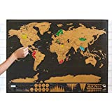 DaKos Scratch Off Map of The World Premium XL Poster, Premium Wall Art Gift for The Loved Ones and Travelers, Track Your Adventures. Large Size 82.5 x 59.5 cms. (Large)