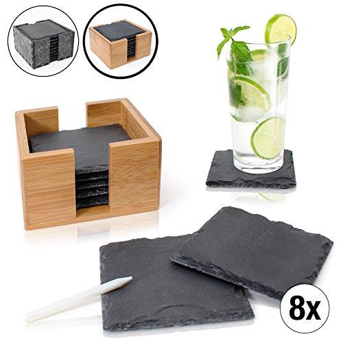setzer Set (8 Stück) inkl. Kreidestift - Dekorative Glasuntersetzer aus 100% Natur Schieferplatten mit praktischem Halter aus edlem Bambus - Tolle Geschenkidee (eckig | 10x10 cm) ()