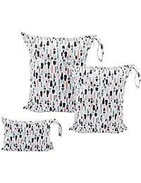 ALVABABY 3Pcs Diaper Wet Dry Bags/Travel Bags/Storage Bags/Cosmetic Bags/Handbags/Wash Bags Waterproof Reusable...