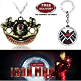 (2 Pcs AVENGER SET) - IRONMAN HANDS (GOLD) IMPORTED PENDANT & AGENTS OF S.H.I.E.L.D KEYCHAIN. LADY HAWK DESIGNER SERIES 2018. ❤ ALSO CHECK FOR LATEST ARRIVALS - NOW ON SALE IN AMAZON - RINGS - KEYCHAINS - NECKLACE - BRACELET & T SHIRT - CAP