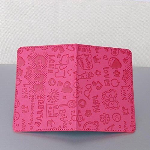 Longra Solido colore moda donne artificiali in pelle cartoni passaporto titolare documento di viaggio copertura di protezione Rosa Caldo Buena Venta Con Descuento hzeBu