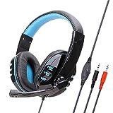 Gaming Headset Für Ps4, Komfortable Rauschunterdrückung 3,5 Mm Mit Mikrofon Für Xbox One Pc-Blue Kopfhörer