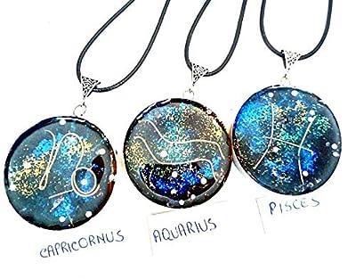 collier Orgone Pendentif Orgonite 12 signes Zodiac, pierres et cristaux. Nouvel Age, Reiki