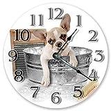 Monsety Wanduhr, Antik-Optik, für Wohnzimmer, Französische Bulldogge, Welpen, Holz, Wanduhr, Kunst für Kinder, Küche, Schlafzimmer, Dekoration, 38 cm