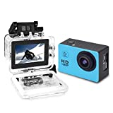 Yuntab fotocamera sport d'azione Action Sport Camera Full HD 1080P outdoor videocamera impermeabile LCD Waterproof Video Helmetcam con biking, swimming, diving + battery + charger A9 blu