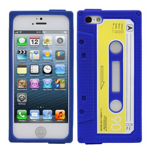 Fosmon JEL Silicone Cassette Case Cover hülle für iPhone 5 / 5s / SE - Lila/Blau blau / gelb