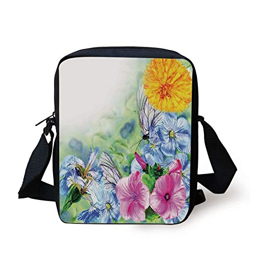 LULABE Watercolor Flower House Decor,Surreal Iris Peony Poppy Petals Paint with Moth Butterflies Wild,Multi Print Kids Crossbody Messenger Bag Purse