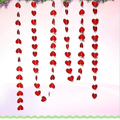 T-Mida Home,Decorazioni di fiori di carta (4m) fatto a mano, pieghevole di glitter rosso a (Fatto A Mano Fiore Di Carta Semi)