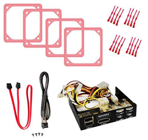 B04-E Lüftersteuerung für 4 Lüfter mit eSATA + 2x USB - inkl. 4x 80mm Anti-Vibrationsrahmen UV Rot, 16x lange Gummientkoppler UV Rot (80mm Frame)