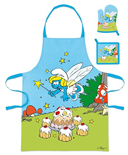 Die Schlümpfe (101286) Kinder Koch-Set Kochschürze, Topfhandschuh und Topflappen, 3-teilig