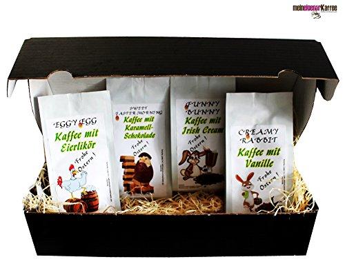 Ostern Geschenk Set aromatisierter Kaffee 'Osterkaffee' 4 x 200 g Aromakaffee ganze Bohne das...