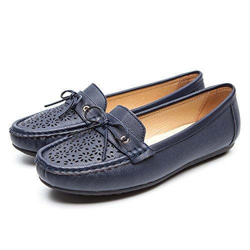 AnjouFemme Bequeme PU Leder Mokassin Damen Schuhe - CESTFINI Atmungsaktive Schuhe Damen, Die Beste Wahl für Arbeit und Alltag, Flache Schuhe Damen, Geeignet für Alle Jahreszeiten SH004-BLUE-40 (Low Wedge-flache Schuhe)